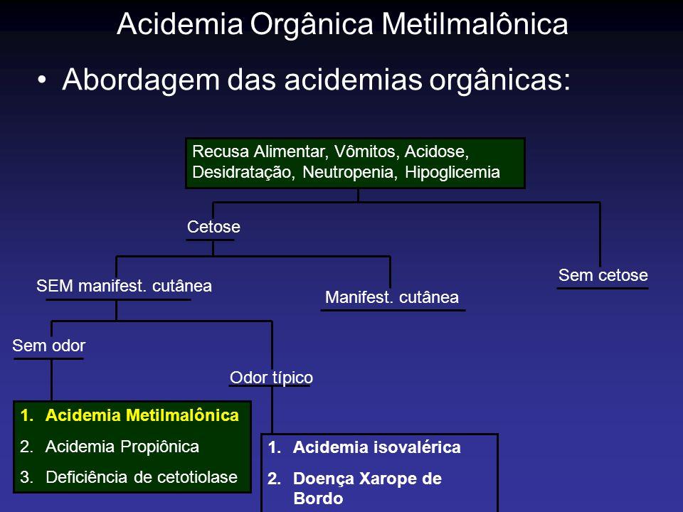 Acidemia Orgânica Metilmalônica Abordagem das acidemias orgânicas: Recusa Alimentar, Vômitos, Acidose, Desidratação, Neutropenia, Hipoglicemia 1.Acide