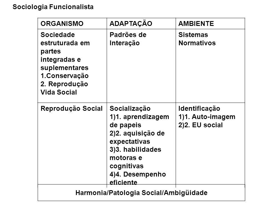 ORGANISMOADAPTAÇÃOAMBIENTE Sociedade estruturada em partes integradas e suplementares 1.Conservação 2. Reprodução Vida Social Padrões de Interação Sis