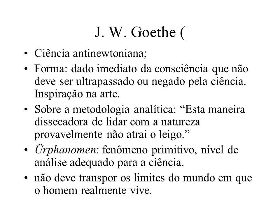 J. W. Goethe ( Ciência antinewtoniana; Forma: dado imediato da consciência que não deve ser ultrapassado ou negado pela ciência. Inspiração na arte. S