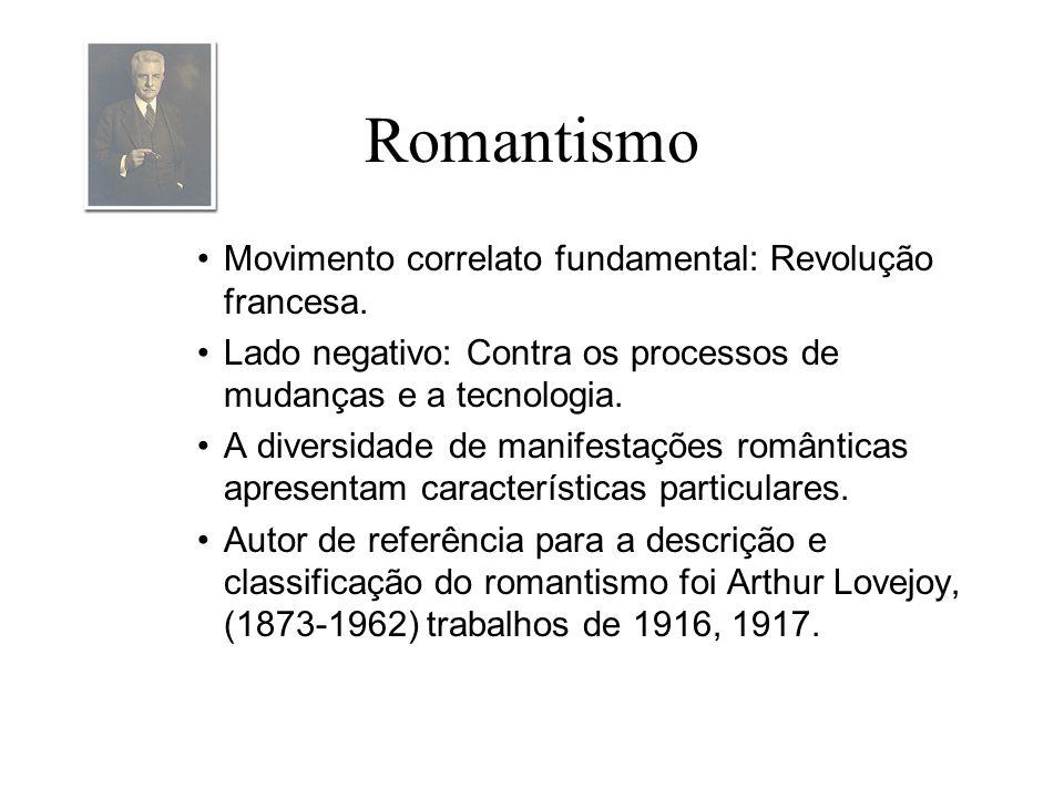 Romantismo Movimento correlato fundamental: Revolução francesa. Lado negativo: Contra os processos de mudanças e a tecnologia. A diversidade de manife