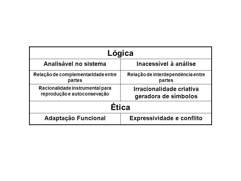 Lógica Analisável no sistemaInacessível à análise Relação de complementaridade entre partes Relação de interdependência entre partes Racionalidade ins