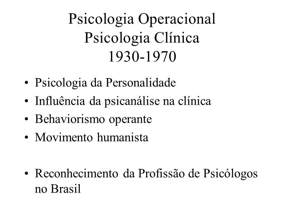 Psicologia Operacional Psicologia Clínica 1930-1970 Psicologia da Personalidade Influência da psicanálise na clínica Behaviorismo operante Movimento h