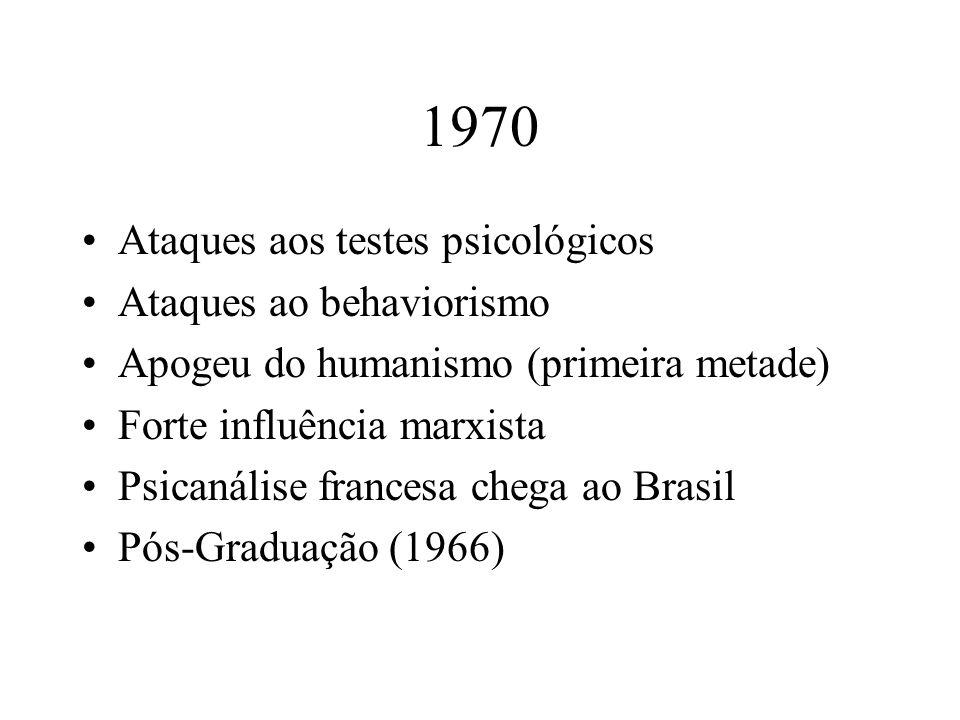 1970 Ataques aos testes psicológicos Ataques ao behaviorismo Apogeu do humanismo (primeira metade) Forte influência marxista Psicanálise francesa cheg