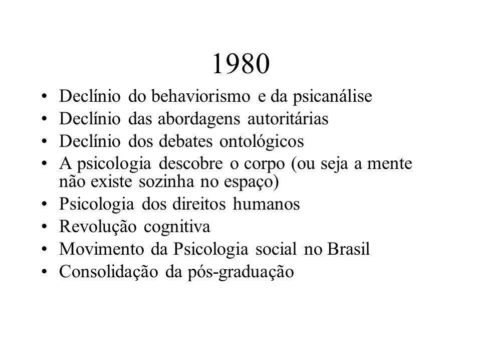 1980 Declínio do behaviorismo e da psicanálise Declínio das abordagens autoritárias Declínio dos debates ontológicos A psicologia descobre o corpo (ou
