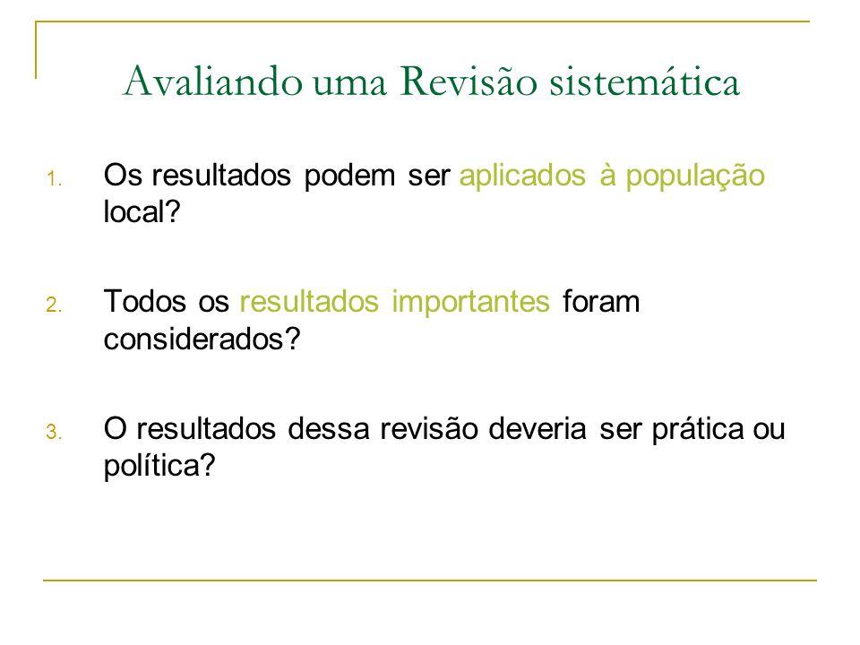 1. Os resultados podem ser aplicados à população local? 2. Todos os resultados importantes foram considerados? 3. O resultados dessa revisão deveria s