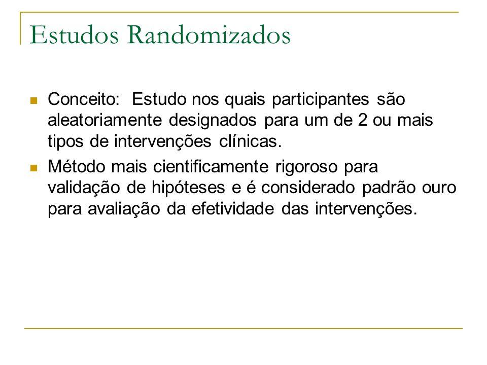 Estudos Randomizados Conceito: Estudo nos quais participantes são aleatoriamente designados para um de 2 ou mais tipos de intervenções clínicas. Métod