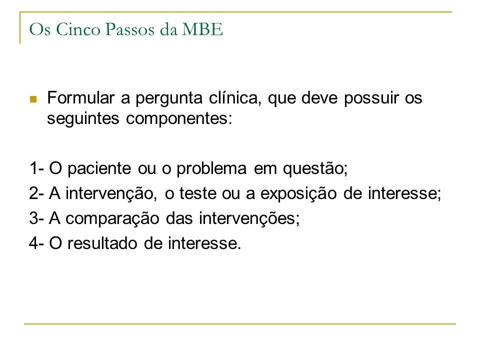 Os Cinco Passos da MBE Formular a pergunta clínica, que deve possuir os seguintes componentes: 1- O paciente ou o problema em questão; 2- A intervençã