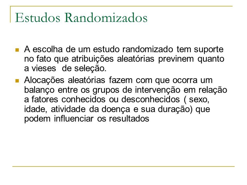 Estudos Randomizados A escolha de um estudo randomizado tem suporte no fato que atribuições aleatórias previnem quanto a vieses de seleção. Alocações
