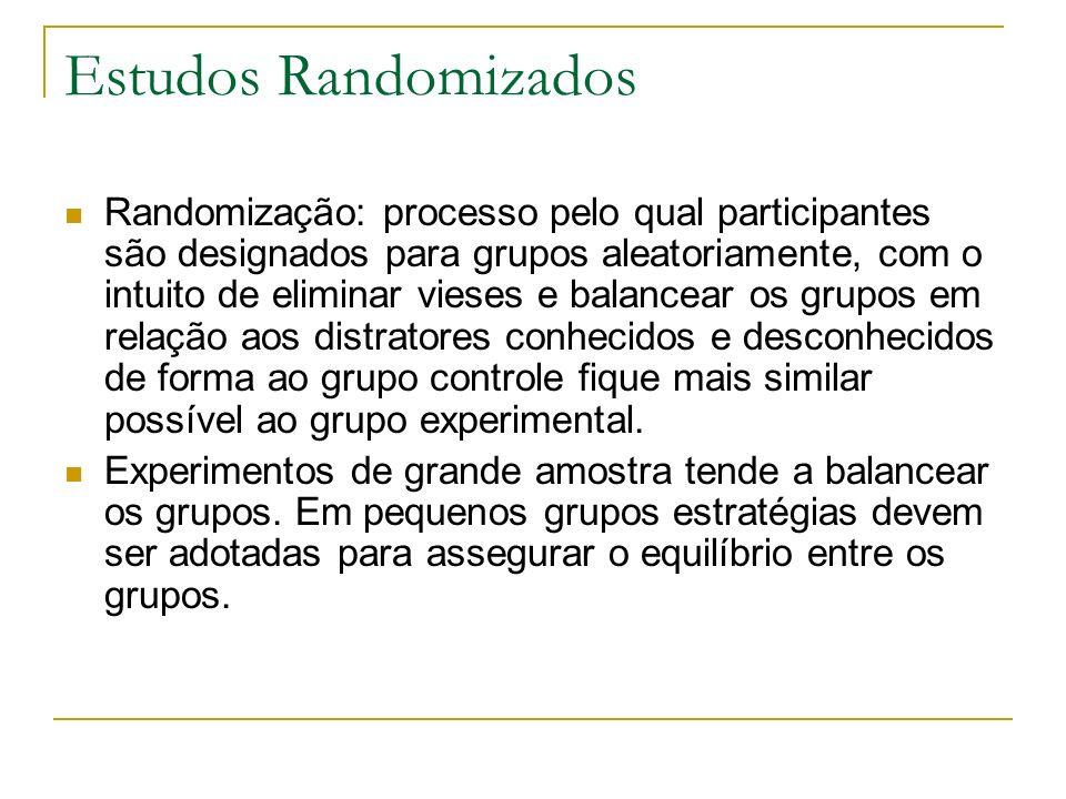 Estudos Randomizados Randomização: processo pelo qual participantes são designados para grupos aleatoriamente, com o intuito de eliminar vieses e bala