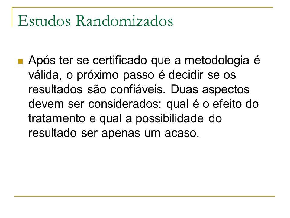 Estudos Randomizados Após ter se certificado que a metodologia é válida, o próximo passo é decidir se os resultados são confiáveis. Duas aspectos deve