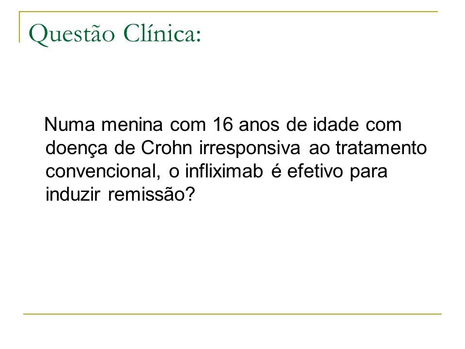 Questão Clínica: Numa menina com 16 anos de idade com doença de Crohn irresponsiva ao tratamento convencional, o infliximab é efetivo para induzir rem