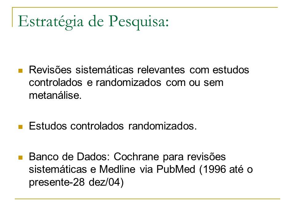 Estratégia de Pesquisa: Revisões sistemáticas relevantes com estudos controlados e randomizados com ou sem metanálise. Estudos controlados randomizado