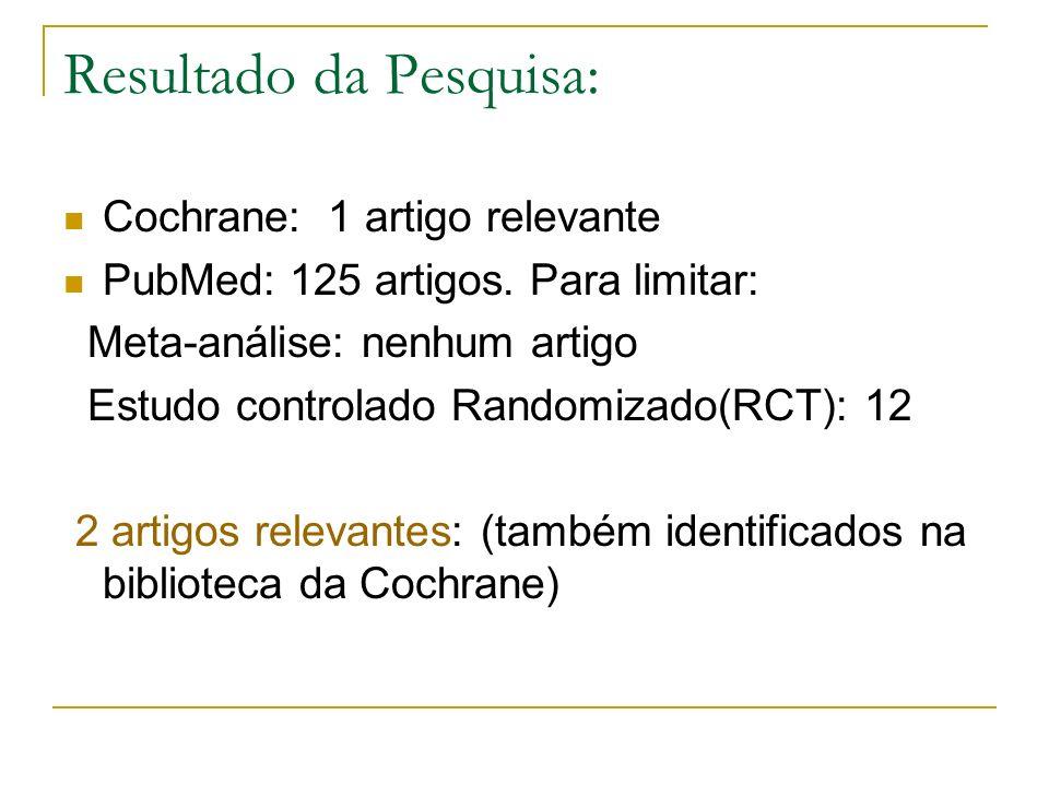Resultado da Pesquisa: Cochrane: 1 artigo relevante PubMed: 125 artigos. Para limitar: Meta-análise: nenhum artigo Estudo controlado Randomizado(RCT):
