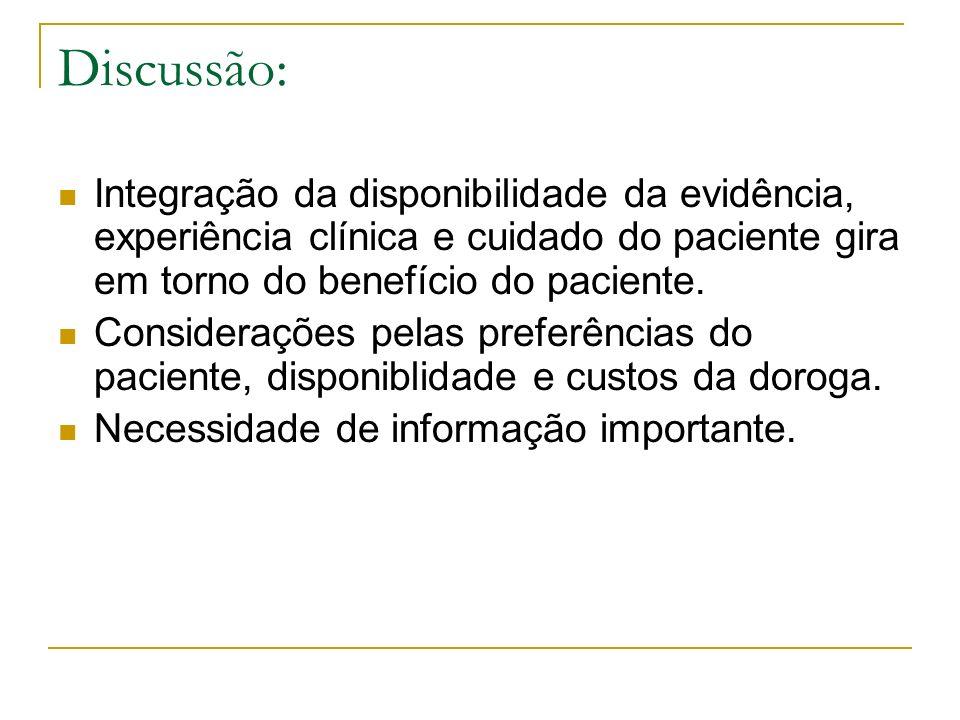 Discussão: Integração da disponibilidade da evidência, experiência clínica e cuidado do paciente gira em torno do benefício do paciente. Considerações