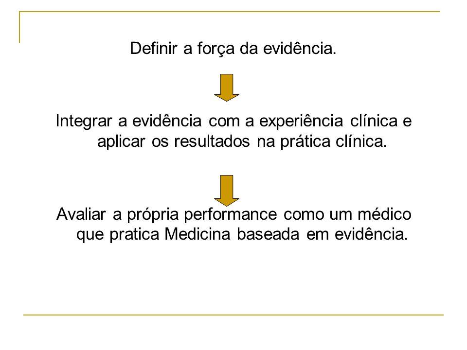 Definir a força da evidência. Integrar a evidência com a experiência clínica e aplicar os resultados na prática clínica. Avaliar a própria performance