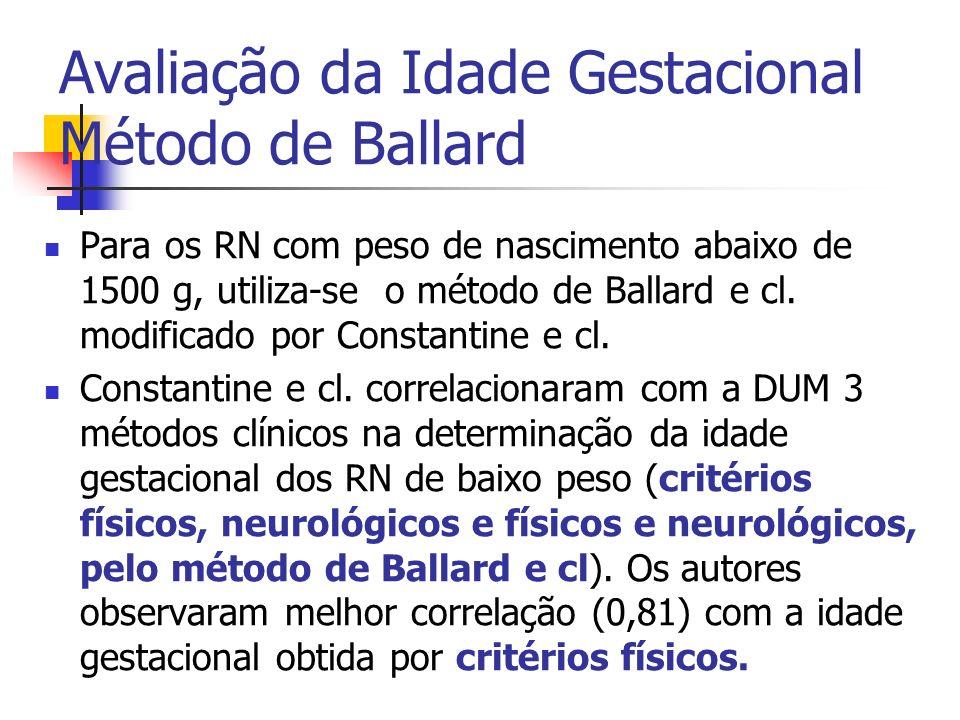Para os RN com peso de nascimento abaixo de 1500 g, utiliza-se o método de Ballard e cl. modificado por Constantine e cl. Constantine e cl. correlacio