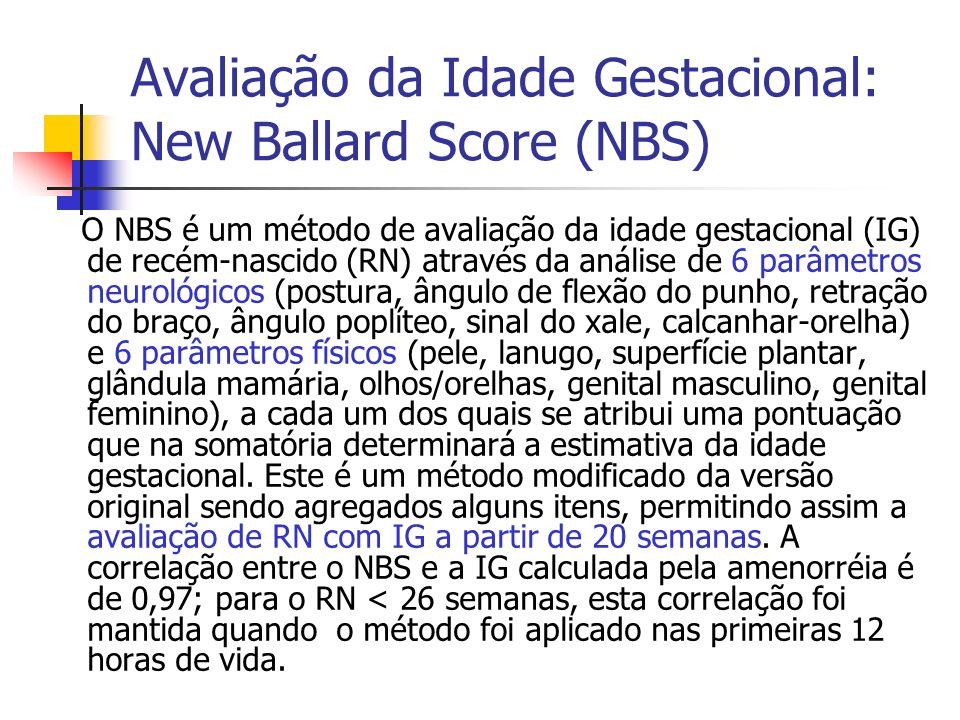 Avaliação da Idade Gestacional: New Ballard Score (NBS) O NBS é um método de avaliação da idade gestacional (IG) de recém-nascido (RN) através da anál