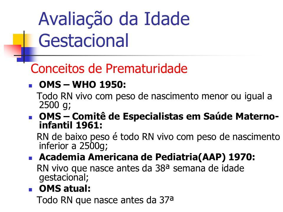 Avaliação da Idade Gestacional OMS – WHO 1950: Todo RN vivo com peso de nascimento menor ou igual a 2500 g; OMS – Comitê de Especialistas em Saúde Mat