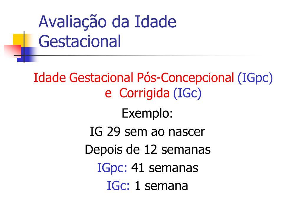 Avaliação da Idade Gestacional Exemplo: IG 29 sem ao nascer Depois de 12 semanas IGpc: 41 semanas IGc: 1 semana Idade Gestacional Pós-Concepcional (IG