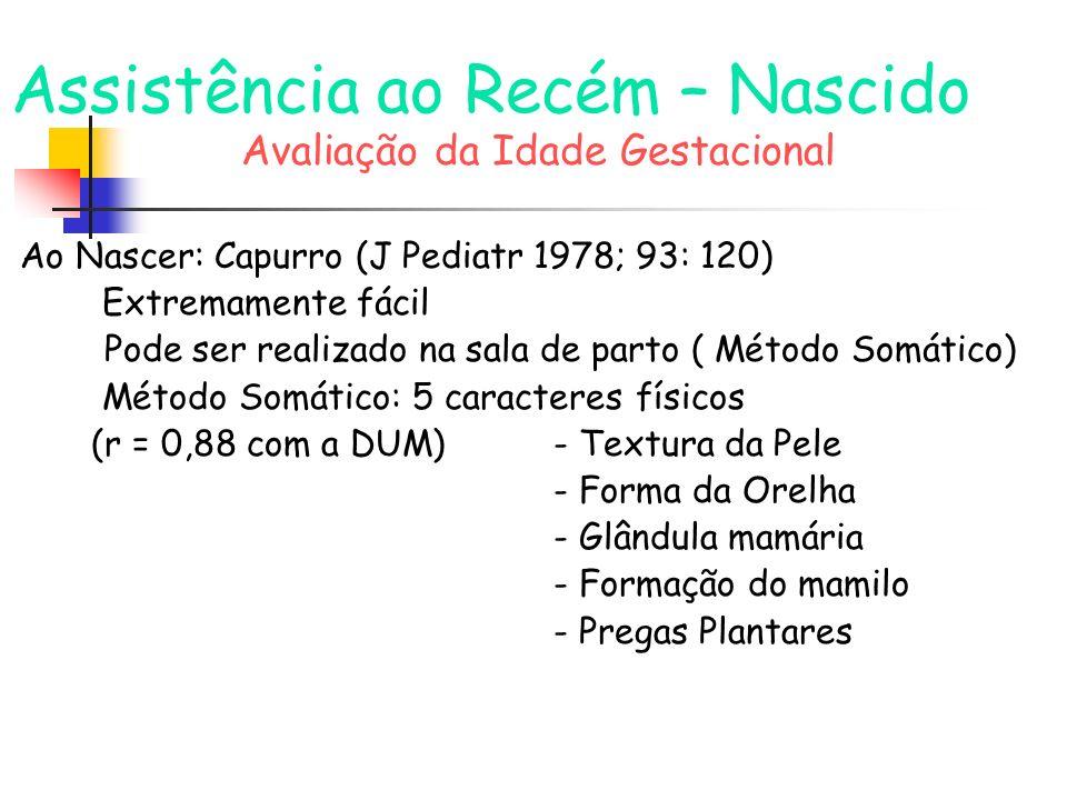Assistência ao Recém – Nascido Avaliação da Idade Gestacional Método Somático-Neurológico: -4 caracteres físicos (r: 0,90 com a DUM) anteriores exceto formação do mamilo -2 caracteres neurológicos - Sinal do Xale - Posição da cabeça ao levantar o RN (r = 0,90 com Dubowitz -J Pediatr 1970;77:1) (10 critérios neurológicos/11 critérios físicos)