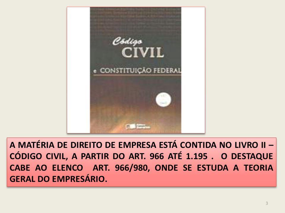 3 A MATÉRIA DE DIREITO DE EMPRESA ESTÁ CONTIDA NO LIVRO II – CÓDIGO CIVIL, A PARTIR DO ART.