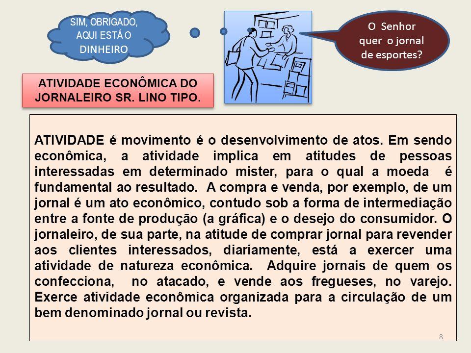 ATIVIDADE ECONÔMICA DO JORNALEIRO SR.LINO TIPO. ATIVIDADE é movimento é o desenvolvimento de atos.