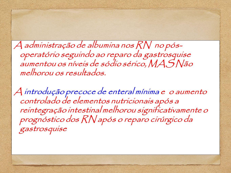A administração de albumina nos RN no pós- operatório seguindo ao reparo da gastrosquise aumentou os níveis de sódio sérico, MAS Não melhorou os resul