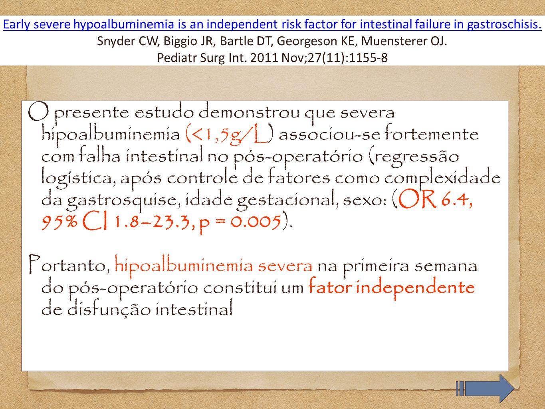 O presente estudo demonstrou que severa hipoalbuminemia (<1,5g/L) associou-se fortemente com falha intestinal no pós-operatório (regressão logística,