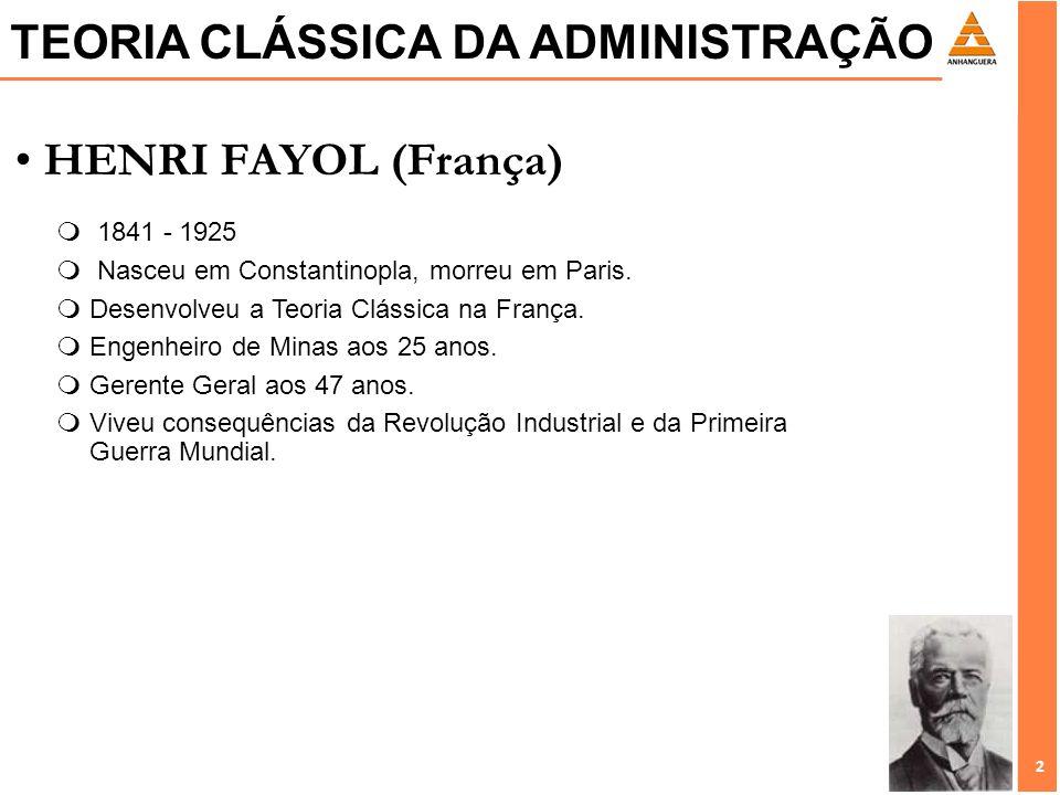 2 2 HENRI FAYOL (França) 1841 - 1925 m Nasceu em Constantinopla, morreu em Paris. mDesenvolveu a Teoria Clássica na França. mEngenheiro de Minas aos 2