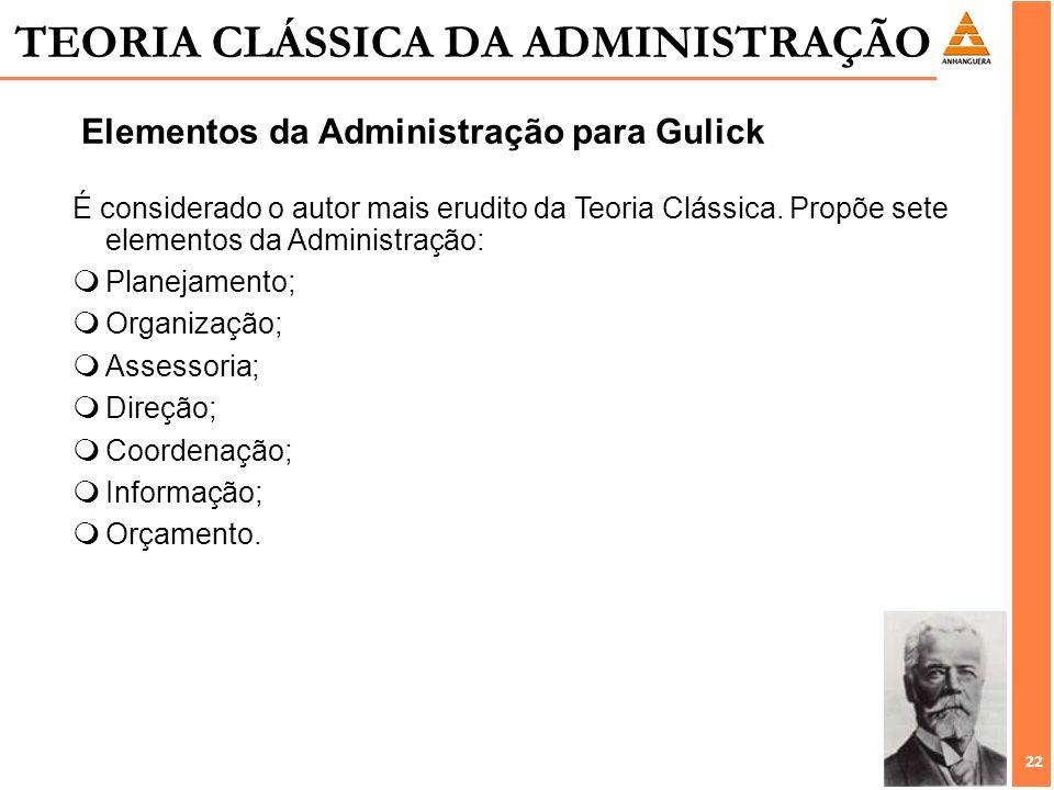 22 É considerado o autor mais erudito da Teoria Clássica. Propõe sete elementos da Administração: mPlanejamento; mOrganização; mAssessoria; mDireção;