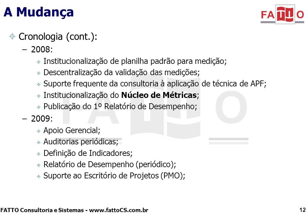 FATTO Consultoria e Sistemas - www.fattoCS.com.br A Mudança Cronologia (cont.): –2008: Institucionalização de planilha padrão para medição; Descentral