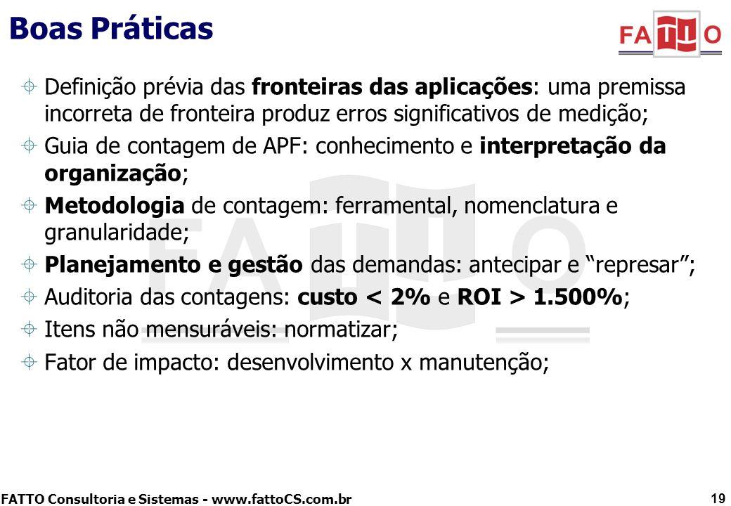 FATTO Consultoria e Sistemas - www.fattoCS.com.br Boas Práticas Definição prévia das fronteiras das aplicações: uma premissa incorreta de fronteira pr