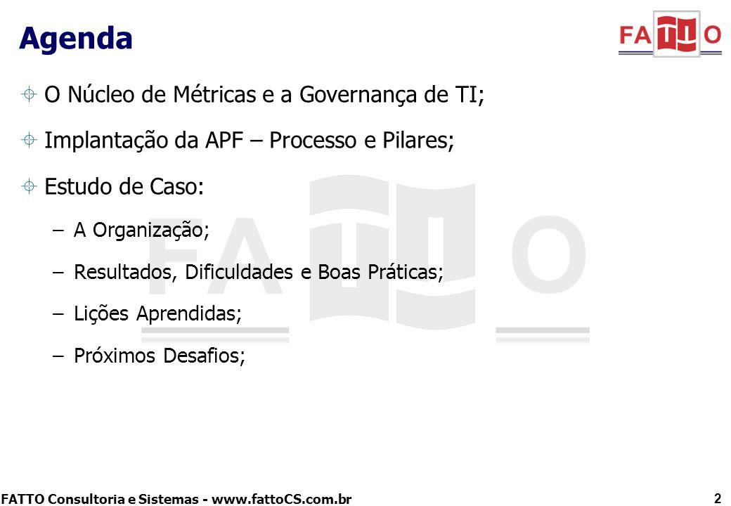 FATTO Consultoria e Sistemas - www.fattoCS.com.br O Núcleo de Métricas e a Governança de TI; Implantação da APF – Processo e Pilares; Estudo de Caso: