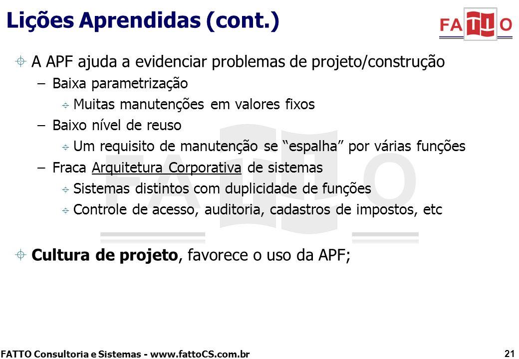 FATTO Consultoria e Sistemas - www.fattoCS.com.br Lições Aprendidas (cont.) A APF ajuda a evidenciar problemas de projeto/construção –Baixa parametriz