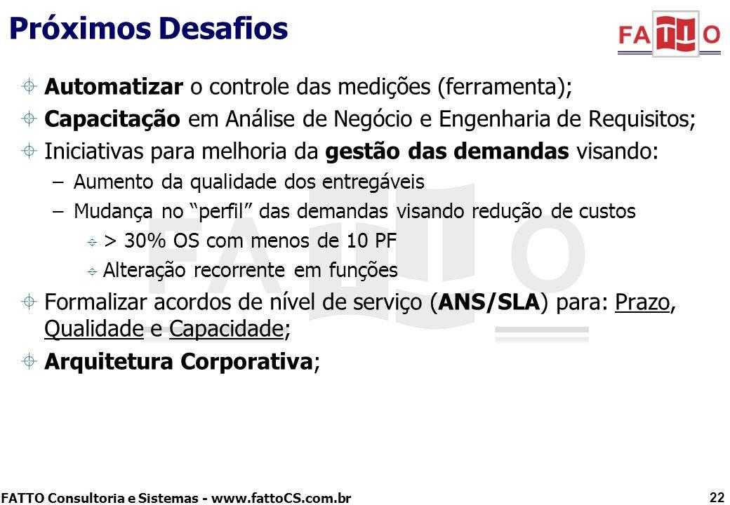 FATTO Consultoria e Sistemas - www.fattoCS.com.br Próximos Desafios Automatizar o controle das medições (ferramenta); Capacitação em Análise de Negóci