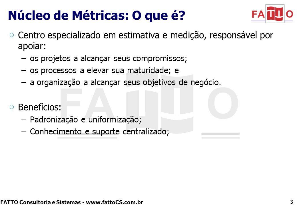 FATTO Consultoria e Sistemas - www.fattoCS.com.br Centro especializado em estimativa e medição, responsável por apoiar: –os projetos a alcançar seus c