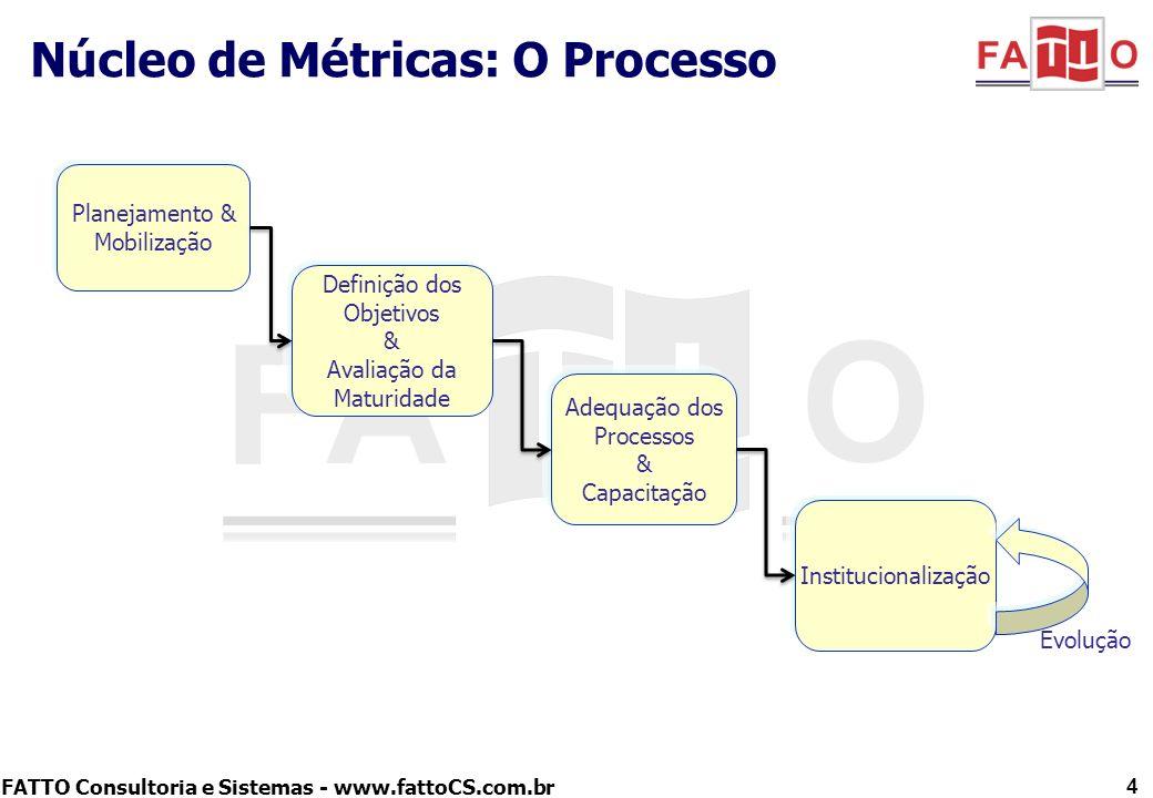 FATTO Consultoria e Sistemas - www.fattoCS.com.br Núcleo de Métricas: O Processo 4 Planejamento & Mobilização Definição dos Objetivos & Avaliação da M
