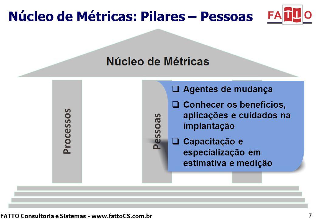 FATTO Consultoria e Sistemas - www.fattoCS.com.br Núcleo de Métricas: Pilares – Pessoas 7 Agentes de mudança Conhecer os benefícios, aplicações e cuid