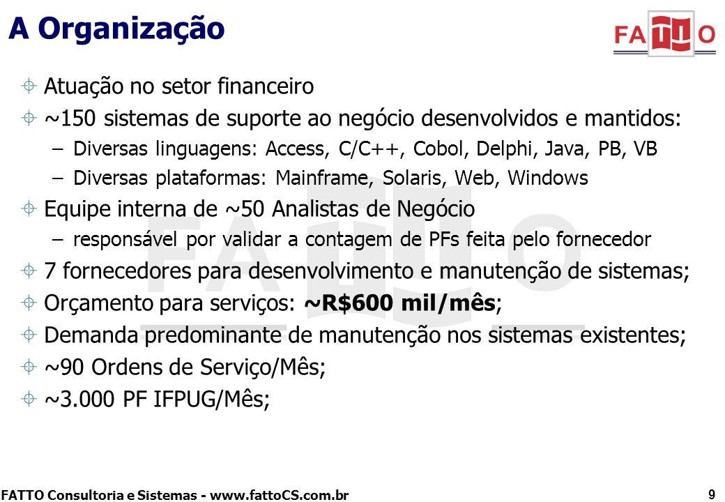FATTO Consultoria e Sistemas - www.fattoCS.com.br A Organização Atuação no setor financeiro ~150 sistemas de suporte ao negócio desenvolvidos e mantid