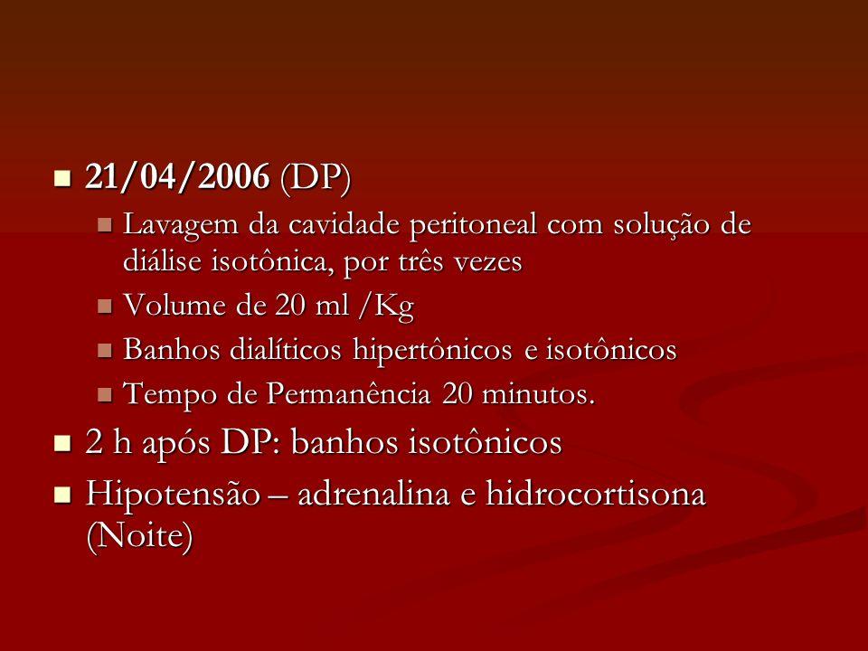 21/04/2006 (DP) 21/04/2006 (DP) Lavagem da cavidade peritoneal com solução de diálise isotônica, por três vezes Lavagem da cavidade peritoneal com sol