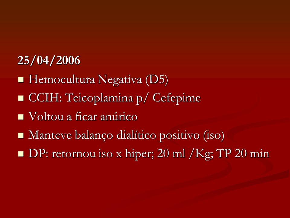25/04/2006 Hemocultura Negativa (D5) Hemocultura Negativa (D5) CCIH: Teicoplamina p/ Cefepime CCIH: Teicoplamina p/ Cefepime Voltou a ficar anúrico Vo