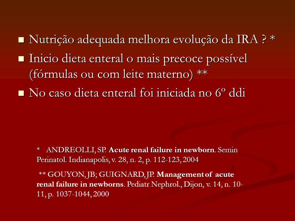 Nutrição adequada melhora evolução da IRA ? * Nutrição adequada melhora evolução da IRA ? * Inicio dieta enteral o mais precoce possível (fórmulas ou