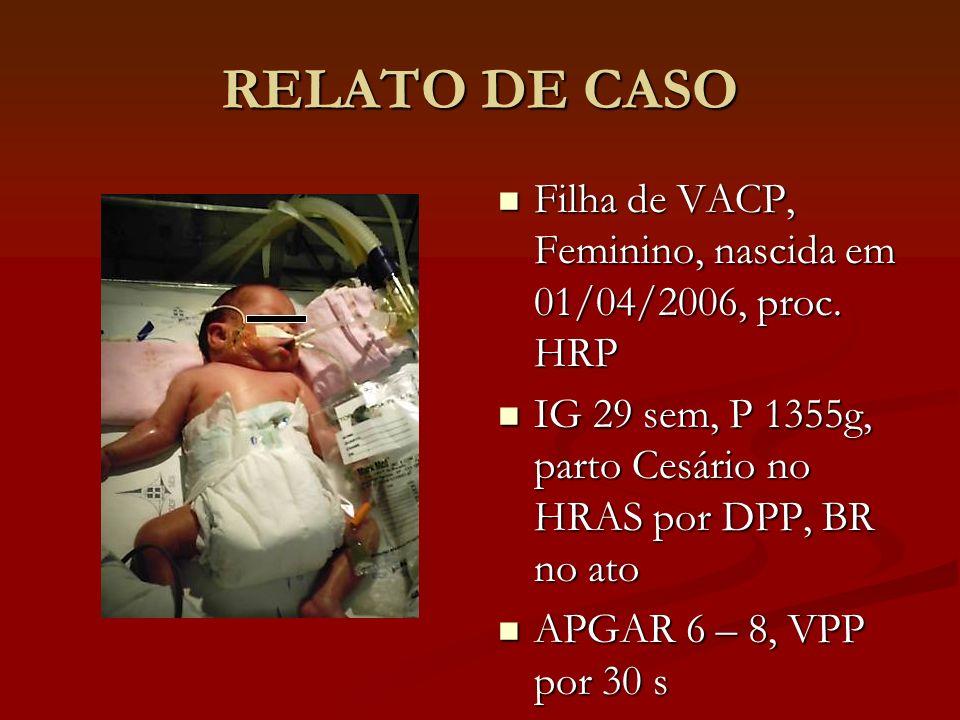 HISTÓRIA PERINATAL HRAS (internado por 4dias) HRAS (internado por 4dias) DRL (O 2 48 h) e icterícia neonatal (fototerapia 24 h) DRL (O 2 48 h) e icterícia neonatal (fototerapia 24 h) HRAN (internado por 3 dias) HRAN (internado por 3 dias) desconforto respiratório O 2 (CN) desconforto respiratório O 2 (CN) Ecocardio: PCA com moderada repercussão hemodinâmica e com sinais de hipertensão pulmonar.