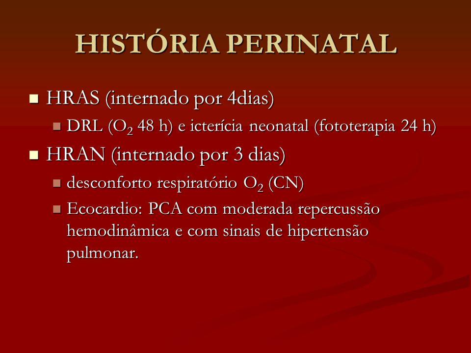 HISTÓRIA PERINATAL HRAS (internado por 4dias) HRAS (internado por 4dias) DRL (O 2 48 h) e icterícia neonatal (fototerapia 24 h) DRL (O 2 48 h) e icter
