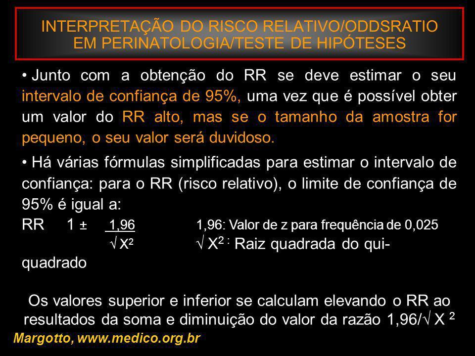 INTERPRETAÇÃO DO RISCO RELATIVO/ODDSRATIO EM PERINATOLOGIA/TESTE DE HIPÓTESES Margotto, www.medico.org.br Junto com a obtenção do RR se deve estimar o