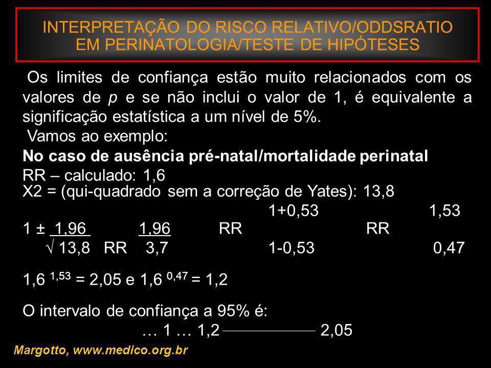 INTERPRETAÇÃO DO RISCO RELATIVO/ODDSRATIO EM PERINATOLOGIA/TESTE DE HIPÓTESES Margotto, www.medico.org.br Os limites de confiança estão muito relacion