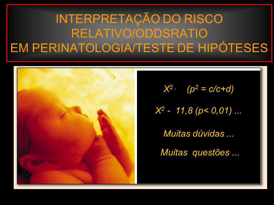 INTERPRETAÇÃO DO RISCO RELATIVO/ODDSRATIO EM PERINATOLOGIA/TESTE DE HIPÓTESES Margotto, www.medico.org.br Exemplo: Ausência de pré-natal e o dano mortalidade perinatal, o risco atribuível é: RA = P 1 – P 2 P 1 = 117/2742 = 0,043 P 2 = 94/3631 = 0,26 RA = 0,043 – 0,26 = 0,017 Fator Ausência de Pré – Natal Morte Perinatal SimNãoTotal Sim117 (a)2625 (b)2742 (a+b) Não94 (c)3537 (d)3631 (c+d) Total211(a+c)6162 (b+d) 6373 n.