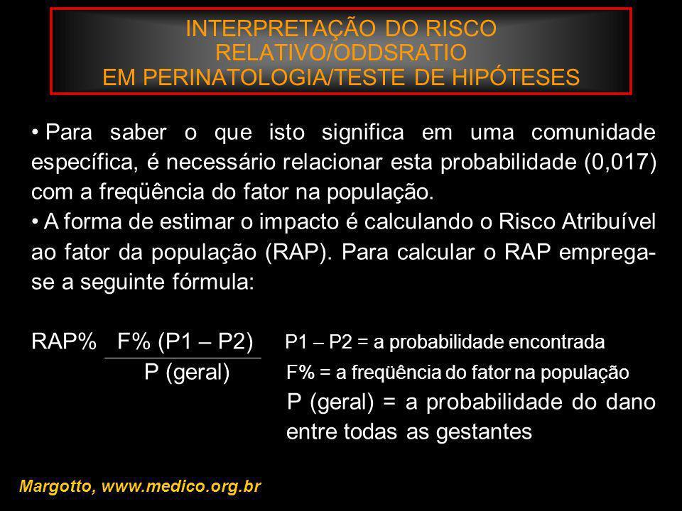 INTERPRETAÇÃO DO RISCO RELATIVO/ODDSRATIO EM PERINATOLOGIA/TESTE DE HIPÓTESES Margotto, www.medico.org.br Para saber o que isto significa em uma comun