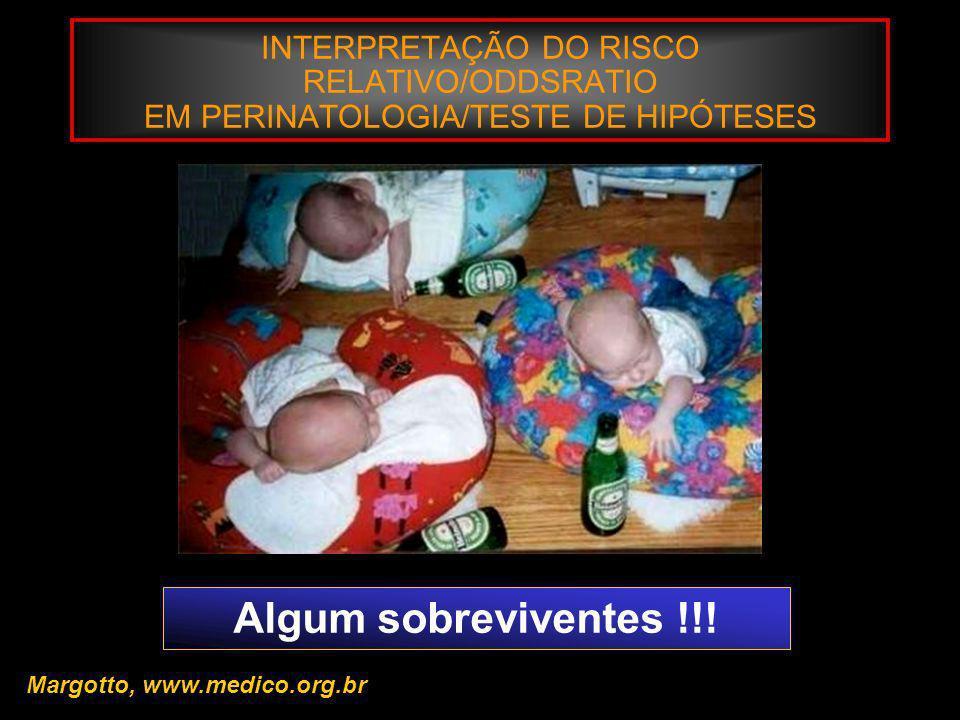 INTERPRETAÇÃO DO RISCO RELATIVO/ODDSRATIO EM PERINATOLOGIA/TESTE DE HIPÓTESES Margotto, www.medico.org.br Algum sobreviventes !!!