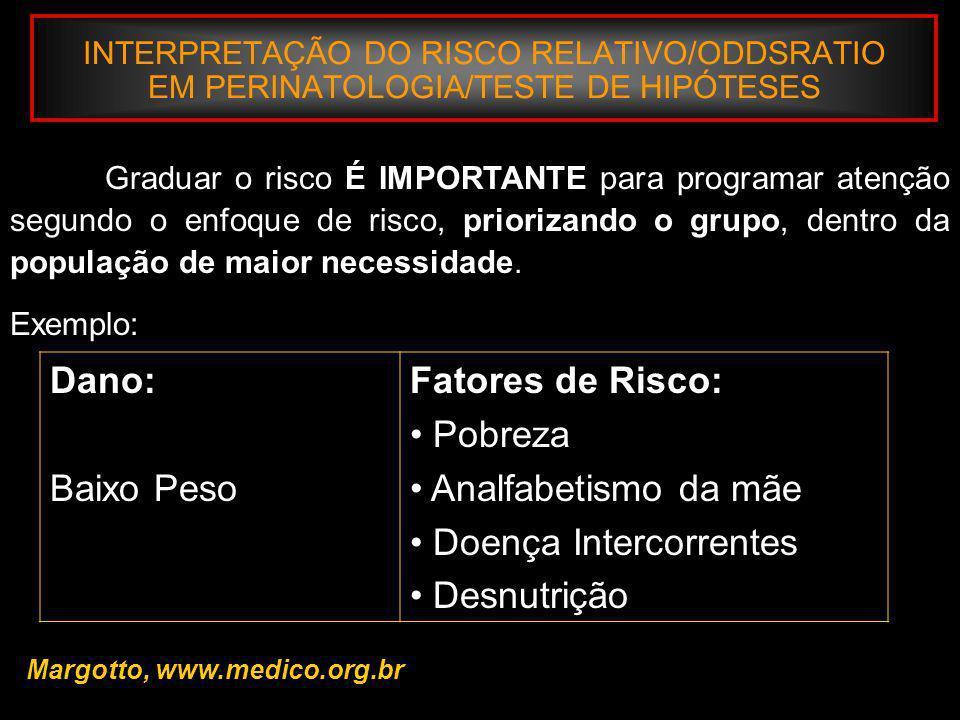 INTERPRETAÇÃO DO RISCO RELATIVO/ODDSRATIO EM PERINATOLOGIA/TESTE DE HIPÓTESES III - Risco Relativo/Qui-quadrado Risco Relativo (RR): Mede o excesso de risco para um dado dano nos indivíduos expostos ao fator de risco, comparado com os que não estão expostos.